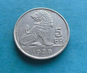 Belgium, 5 Francs 1938 in Good Condition.