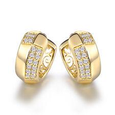 HUCHE Luxury 18K Gold Filled Cross Diamond Crystal Lady Banquet Wedding Earrings