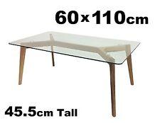 Scandi Retro Modern Clear Glass & Timber Rectangular Coffee Table 110x60cm NEW