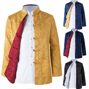 Reversible Traditional Chinese Clothes Men Tang Suit Top Silk Print Jacket Coat