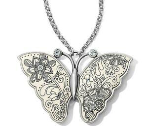NWT Brighton PETALWINGS Butterfly Pendant Silver Necklace Petal Wings MSRP $78