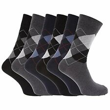 6 Pairs Of Mens Argyle Socks, Cotton Rich Lycra Socks, Size 6-11 By argyle sock