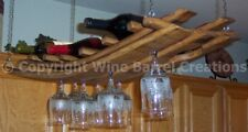 Hanging Wine Bottle & Wine Glass Rack From Barrel Staves By Wine Barrel Creation