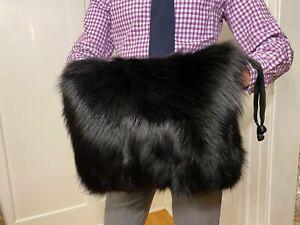 "Large 15"" Black Real Black Fox Fur Muff Hand Warmer Gloves Purse Pocketbook Bag"