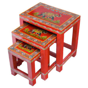 Painted Red Elephant  Nest of 3 Table  Fair Trade Bohemian Furniture