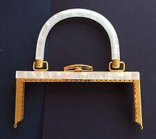 Vintage Bag Handle - Square Handbag Frame, Off-white Marble and gold clasp