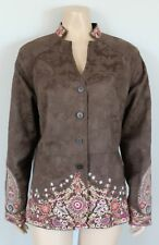 COLDWATER CREEK Brown Embroidered Floral Paisley Jacket, Size 16
