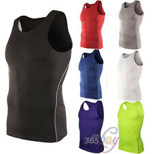 Men Compression Stretch Vest Sport Gym Sleeveless Tee Shirt Running Tight Tops