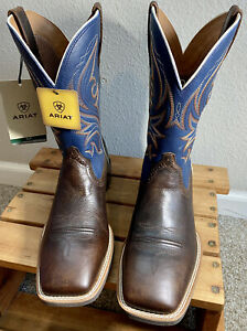 NIB Ariat 10033981 Men's Sport Knockout Wide Square Toe Western Boots 10D