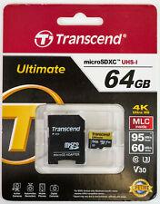 Transcend Ultimate Micro SDHC UHS-I 64GB 4K MLC Micro SD Card TS64GUSDU3M Camera