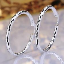 Womens Sterling Silver Medium Size Diamond-Cut Round Hoop Fashion Earrings #EA24