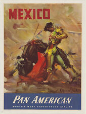 "Mexico Original Travel Poster Restored And Linen Back Approx. 30""x41"" 1970s ? #2"