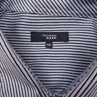 Thomas Nash Short Sleeve Button Up Shirt Men's Size 2XL XXL Striped Blue Gray