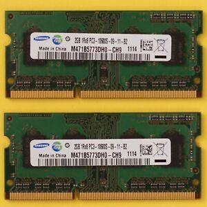 4GB (2x 2GB) DDR3 1333Mhz PC3-10600 CL9 Samsung 200 Pin SoDimm RAM Memory Laptop