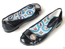 new MARC JACOBS black patent TURNLOCK LOGO flats shoes 36.5 6.5 - super comfy