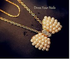 Necklace - Pearl Bow with Rhinestone Pendant  Costume Jewelry Trendy Fashion