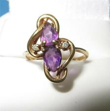 Vintage 14k Gold Amethyst and Diamond Ring Retro Style 2.8 grams Size 6.75 c1950