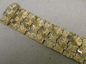 Men's Large Yellow Gold Plated Nugget Bracelet 9in Long 26mm Extra Wide No ID