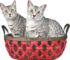 Egyptian Mau Cats in Basket - Cross Stitch Chart/Pattern/Design/Xsti tch