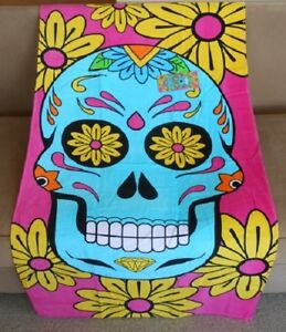 New Vibrant Pink Sugar Skull & Flowers Bath Beach Pool Gift Towel Velour Skulls