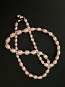Vintage Graduated Light Pink Satin & Clear Faceted Lucite Bead Necklace Japan