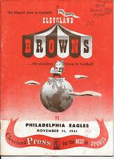 NOV 11, 1951 CLEVELAND BROWNS vs PHILADELPHIA EAGLES ORIGINAL FOOTBALL PROGRAM
