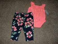 Carter's Baby Girls 2pc Pink Flower Set Outfit Size 3 Months 3M 0-3 mos NWT NEW