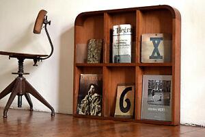 Zeitungsständer Teak Holz Art Deco Hängeregal Vintage Prospektständer Antik Wand