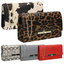 Womens Tana Croc Animal Print Party Prom Casual Evening Clutch Bag