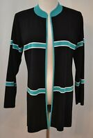 Misook Tunic Cardigan Open 100% Acrylic Black Blue Striped Knit Jacket Small