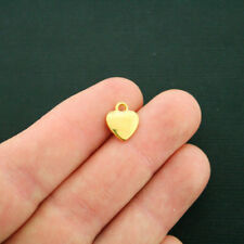 15 Small Heart Charms Antique Gold Tone Two Sided - GC700