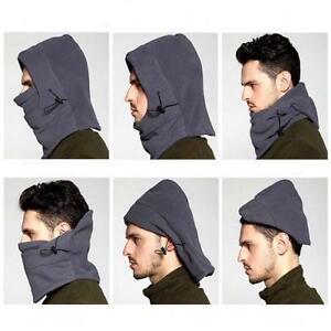 Fleece 6 in 1 Scarf Snood Balaclava Hood Face Mask Neck Thermal Black or Grey UK