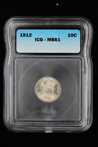 1912 Barber Dime 10c ICG MS 61 | Uncirculated / UNC