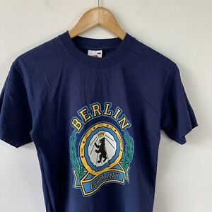 Fruit of the Loom Blue T-shirt Size S Berlin Germany Bear Logo Graphic Print Tee
