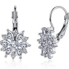 Silver Fashion Women Snow Flower Hoop Cubic Zirconia Earings Hoop Party Jewelry
