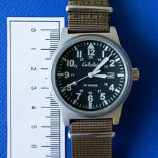 Cabela's 40mm military watch with olive green nato strap luminescent hands