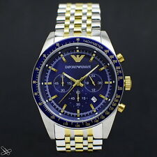 Emporio ARMANI AR6088 Watch - Blue Dial & Two Tone Stainless Steel Chronograph