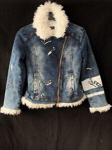 Monnalisa Pop Art Super Girl Blue Denim Coat Jacket Biker Faux Fur Trim 12 Y