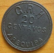 Peru Arequipa 20 centavos token G.R.H. Company Scarce type
