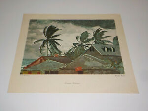 "WINSLOW HOMER Tornado, Bahamas LITHOGRAPH VINTAGE PRINT 16"" x 13"""