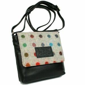 Yfenni Leather Handbag Small Cross Body Black Multi Colour Grey Tweed