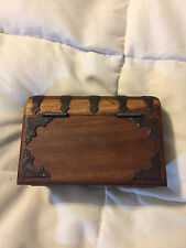 VINTAGE INDIA WOOD WOODEN HAND MADE BOOK TRINKET BOX STORAGE CONTAINER