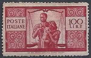 1945-48 ITALIA DEMOCRATICA 100 LIRE SENZA GOMMA - RR11680