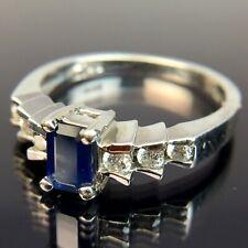 EFFY BH 14k Diamond & Emerald-Cut Sapphire White Gold Ring Size 6.5