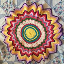 Vintage Embroidered Crocheted Doilie - Finished Retro Needlepoint Picture Art
