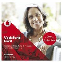 Tarjeta Sim/ Micro/ Nano Prepago Vodafone Fácil 5€ De Saldo Y 4G+