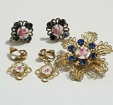 Vintage Guilloche Enamel Rose Earrings and Pin Lot