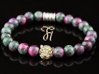 Jade grün pink - goldfarbener Tigerkopf - Armband Bracelet Perlenarmband 8mm