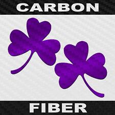 Three Leaf Clover Sticker 2 Pack Carbon Fiber Vinyl Shamrock Decals