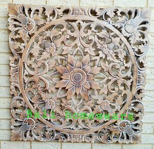 NATURAL WASH MANDALA WOOD CARVED WALL ART PLAQUE  LARGE 100 CM